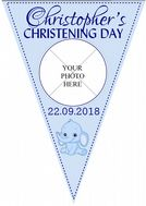 Personalised Boys Christening  Baptism Flag PHOTO Bunting Banner - N31